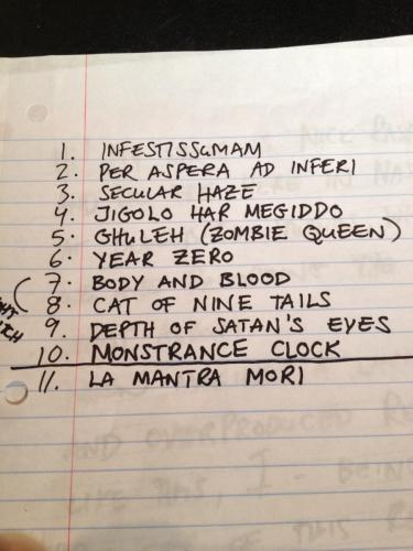 Ghost at Blackbird Infestissumam song list
